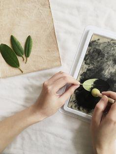 How to print with plants onto fabric — kaliko Hand Printed Fabric, Printing On Fabric, Fabric Painting, Diy Painting, Natural Dye Fabric, Fabric Stamping, How To Dye Fabric, Dyeing Fabric, Tampons