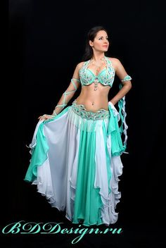 mint and white belly dance costume