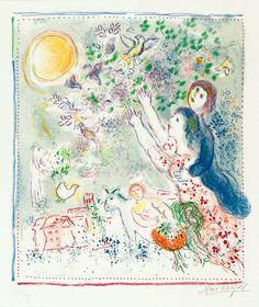 Chagall Hand Signed Color Lithograph | La Chasse à L'Oiseau Bleu
