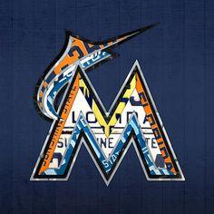 Miami Marlins Baseball Team Vintage Logo Recycled Florida License Plate Art.