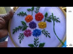 Hand embroidery designs. double cast on, bullion knot, creton stitches tutorial. - YouTube