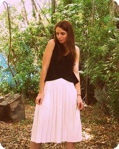 SALE Cream Pleated Midi Skirt by PlaygroundLoveVtg on Etsy