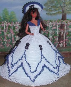 (1) CROCHET FASHION- 412 CRINOLINE LADY #2 for 11 1/2 Fashion Dolls such as Barbie-Original Design from ICS Original Designs- Make with #10