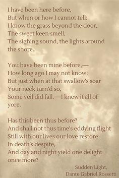 Sudden Light, by Dante Gabriel Rossetti