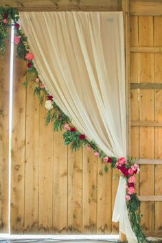 Drapery and Floral Garland Barn Wedding Ideas Farm Barn Wedding Inspiration Rustic Barn Ceremony Rustic Barn Reception Barn Wedding Styling Country Barn Wedding Flowers Farm Barn Wedding Decor Trendy Wedding, Rustic Wedding, Dream Wedding, Wedding Ideas, Diy Wedding Photo Booth, Pallet Wedding, Wedding Inspiration, Rustic Photo Booth, Wedding Simple