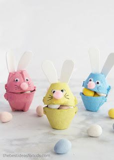 ▷ 1001 + creative ideas for Easter crafts with children-▷ 1001 + kreative Ideen zum Thema Osterbasteln mit Kindern Make colorful Easter bunnies out of egg carton yourself, fill with small candies, Easter gifts for children - Egg Crafts, Bunny Crafts, Crafts For Kids To Make, Fun Crafts For Kids, Easter Crafts, Children Crafts, Easter Art, Easter Decor, Kids Fun