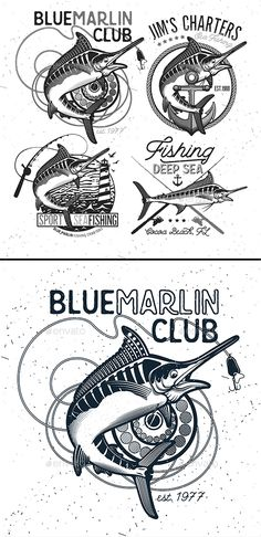 Fishing Vector Logo. Blue Marlin or Swordfish icons. - Sports/Activity Conceptual Download here: https://graphicriver.net/item/fishing-vector-logo-blue-marlin-or-swordfish-icons/19986835?ref=classicdesignp