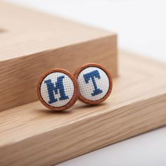 personalised embroidered initial cufflinks by handstitched with love   notonthehighstreet.com