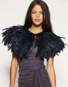 asos feather cape