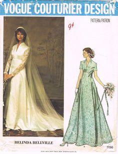 Vogue 1156 - Vintage 1970s Sewing Pattern - Couturier Design - Belinda Bellville - Misses' Bridal Dress, Veil And Cap