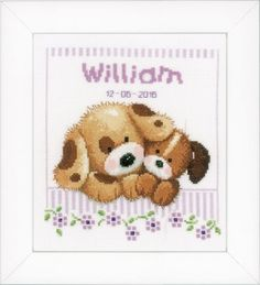 Vervaco Cuddling Dogs Birth Announcement - Cross Stitch Kit. Kit 14 Ct. White Aida, sorted cotton floss, needle, chart, and instructions. Finished size is 8 x 8