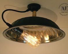 SteamPunk Industrial Style Aluminium ceiling light, Antique Edison Bulb, Lamp, Rustic Lighting