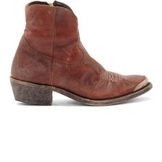 Golden Goose Brick Red Distressed Leather Young Boots