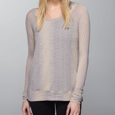 Lululemon Salutation to Savasana Long Sleeve Top 8 Lululemon Athletica Salutation to Savasana long sleeve top in Cashew Misty Stripe Gray. Size 8. Pre-owned. This top is extremely rare and hard to fine.  Super soft and stretchy lightweight fabric. Great for layering. Only minor signs of wear can be observed under the arms from mild rubbing. Not noticeable to onlookers. Smoke-free home. No trades. Offers welcome! lululemon athletica Tops Tees - Long Sleeve