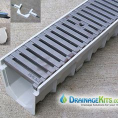 Driveway Drainage Kits Drain water away from your driveway, patio, or poolside with our installer-friendly kits. These driveway drainage kits are designed for low-speed car and light truck traffic. Largest selection of grating options available anywhere! Gutter Drainage, Yard Drainage, Driveway Drain, Permeable Driveway, Landscape Drainage, Trench Drain, Drainage Solutions, Drainage Ideas, Patio Interior