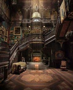 Looks like it's from the movie Crimson Peak. It may be a real place, but it definitely looks like the house in Crimson Peak Gothic Architecture, Beautiful Architecture, Beautiful Buildings, Interior Architecture, Beautiful Homes, Beautiful Places, Interior Design, Interior Decorating, Decorating Ideas