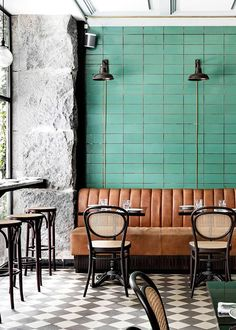 design - See How This Scandinavian Restaurant Does the Classic Parisian Bistro Restaurant Design, Deco Restaurant, Vintage Restaurant, Modern Restaurant, Modern Interior Design, Interior Architecture, Classic Interior, Commercial Interior Design, Scandinavian Restaurant