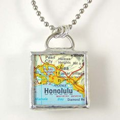 Honolulu Map Pendant Necklace by XOHandworks $20
