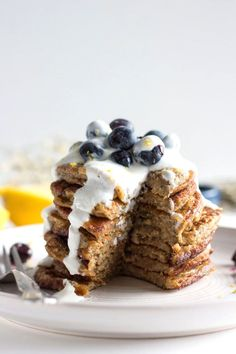 Blueberry Chia Seed Pancakes | A simple pancake recipe filled with chia seeds for added fiber! | thealmondeater.com