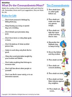Ten Commandments Matching – Kids Korner – BibleWise