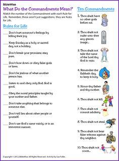 Ten Commandments Matching – Kids Korner – BibleWise