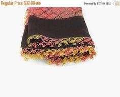 SALE 20% Turkish Oya scarf  Multicolor  Floral  by Nakkashe