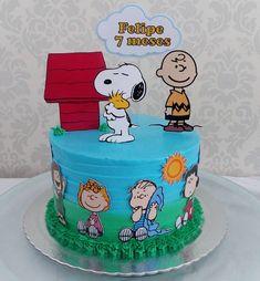Snoopy Party, Snoopy Birthday, Bolo Snoopy, Snoopy Cake, Cake Icing, Buttercream Cake, Bolo Garfield, Cupcakes, Cupcake Cakes