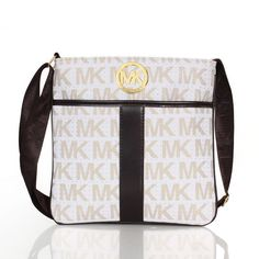 Michael Kors Outlet !Michael Kors Logo Signature Large White Crossbody Bags$64.99 ! Unbelievable !