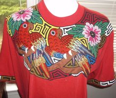 Womens Shirt Top X Large Red Floral Overlay With Parrots Tropical S Sleeve Edged #Galapago #KnitTop