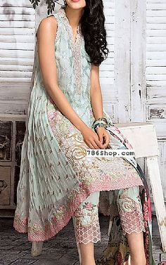 Light Turquoise Chiffon Suit | Buy Gul Ahmed Pakistani Dresses and Clothing online in USA, UK