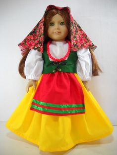 "Fits 18"" American Girl doll Italy Italian folk dress clothes T COSTUME ONLY"