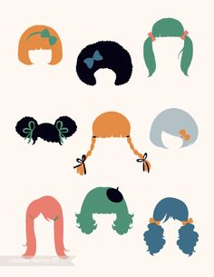 vintage Hairstyles.. inspire.. drawing faces