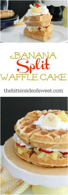 Banana Split Waffle Cake | The Bitter Side of Sweet #SundaySupper