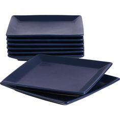 set of 8 mood blue salad-dessert plates    CB2