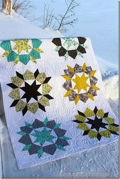 Swoon Quilt in winter | by Kerri and quilted at Tamarack Shack