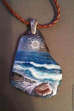 Купить Слушая Море... - голубой, море живопись, кулон, живопись маслом, живопись на камне