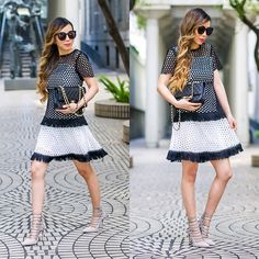 Get this look: http://lb.nu/look/8669769  More looks by Sasa Zoe: http://lb.nu/shallwesasa  Items in this look:  On Sale For Less Than $60 Dress, Heels, Sunglasses, Bag   #chic #classic #romantic #eyelet #crochet #fringe #blackandwhite #classy #chanel