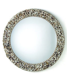 Arteriors Kipling Authentic Oyster Shell Round Mirror on sale. Round wall mirror with natural oyster shell frame is detailed with smaller oyster shells rimming inner and outer borders. Coastal Mirrors, Coastal Decor, Coastal Living, Decorative Mirrors, Florida Living, Coastal Style, Round Wall Mirror, Round Mirrors, Shell Mirrors
