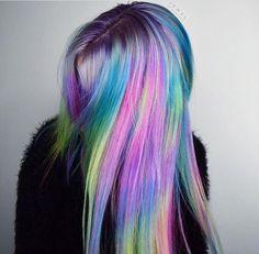 Happy National Unicorn Day🦄💫 By Butterfly Loft Stylist using color Hair Dye Colors, Cool Hair Color, Medium Hair Styles, Long Hair Styles, Dyed Hair Pastel, Fantasy Hair, One Hair, Rainbow Hair, Colorful Hair