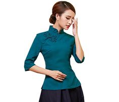 13e6c15a744ad9 ACVIP Damen Reine Farbe Sieben Punkten Ärmel Klassisch Cheongsam Bluse (EU  36/ Chinese M