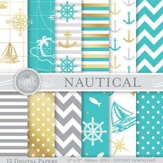 Grey Teal & Gold NAUTICAL Digital Paper 12 x 12 by MNINEDESIGNS