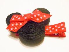 Minnie mouse clip hair-bows