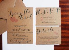 Kraft Paper Vintage Style Wedding Invitation Set by PinkPersian