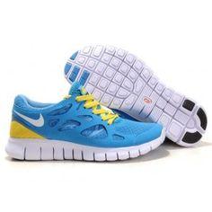 newest aa029 f268a Nike Free Run 2 University Blue White Yellow Womens Shoes