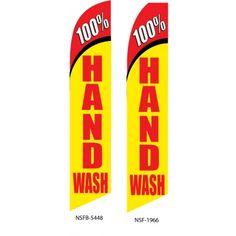 100 % hand wash advertising tall swooper flag, vertical banner.