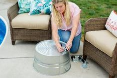 """Throwing Shade: DIY Rolling Umbrella Stand Planter - - Looking for a unique way to """"plant"""" your umbrella next to your favorite lounge chair? Look no further than this portable planter that securely carries your umbrella wherever it goes. Outdoor Umbrella Stand, Patio Umbrella Stand, Offset Patio Umbrella, Outdoor Patio Umbrellas, Cantilever Umbrella, Umbrella Holder, Diy Umbrella Base, Pool Umbrellas, Umbrella Stands"""