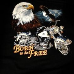 Motor bike/Eagle logo printed long sleeve 100% cotton black t- Born to be Free #RockEagle