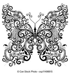 paisley butterfly line drawing - Google Search
