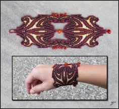 "(2012) 9""x 3"", Size 15 seed beads (dark ruby, black, silver-lined orange iris, silver-lined champagne) carnelian beads, polyester thread. I had done this design once before as part of my zodiac ser..."