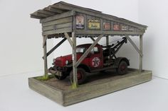 1:24 1:25 Danbury Mint / Franklin Mint Barn / garage / carport diorama w/ lights